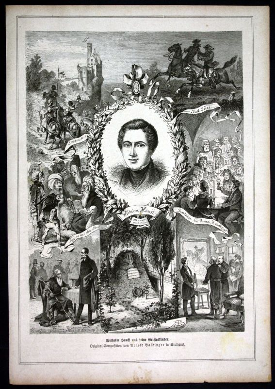 Ca. 1880 Wilhelm Hauff Schriftsteller writer Portrait Holzstich antique print