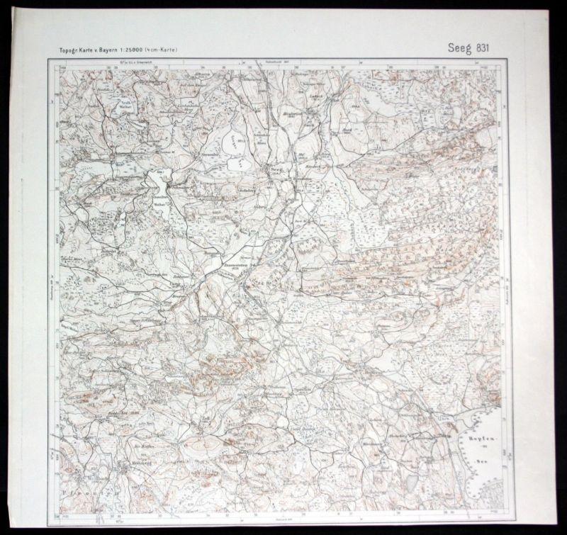 Ca. 1940 Seeg Hopfensee Hitzleried Tannenmühle 1:25000 Karte Meßtischblatt