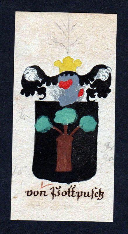 18. Jh. von Pottpusch Böhmen Manuskript Wappen Adel coat of arms heraldry 0