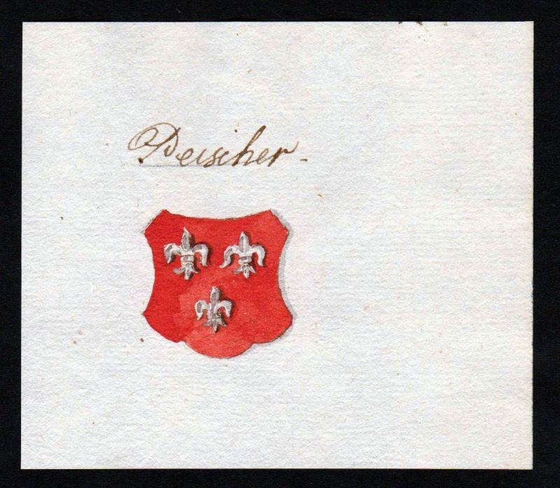 18. Jh. Peischer Handschrift Manuskript Wappen manuscript coat of arms 0