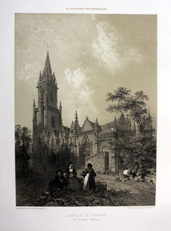 1870 Chapelle Notre-Dame-de-Quelven Bretagne France estampe Lithographie litho