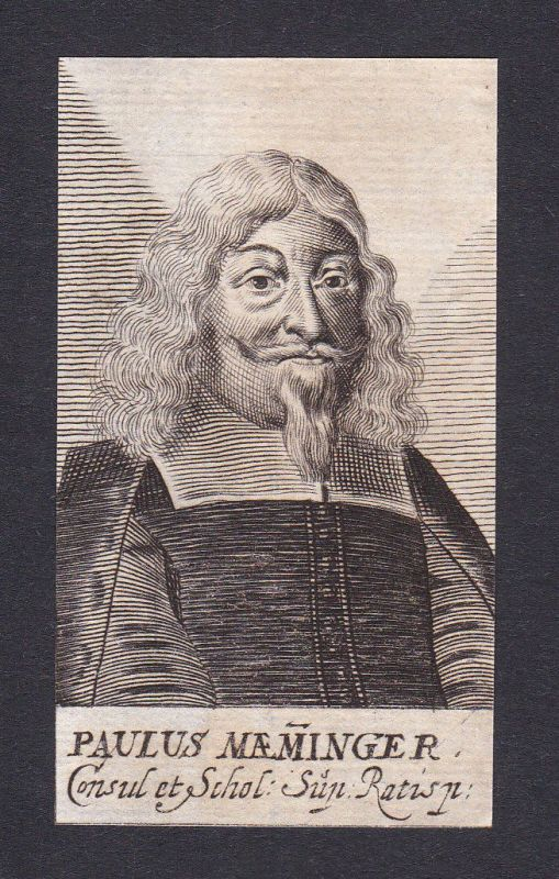 17. Jh. Paulus Maeminger / lawyer Jurist Regensburg Portrait Kupferstich