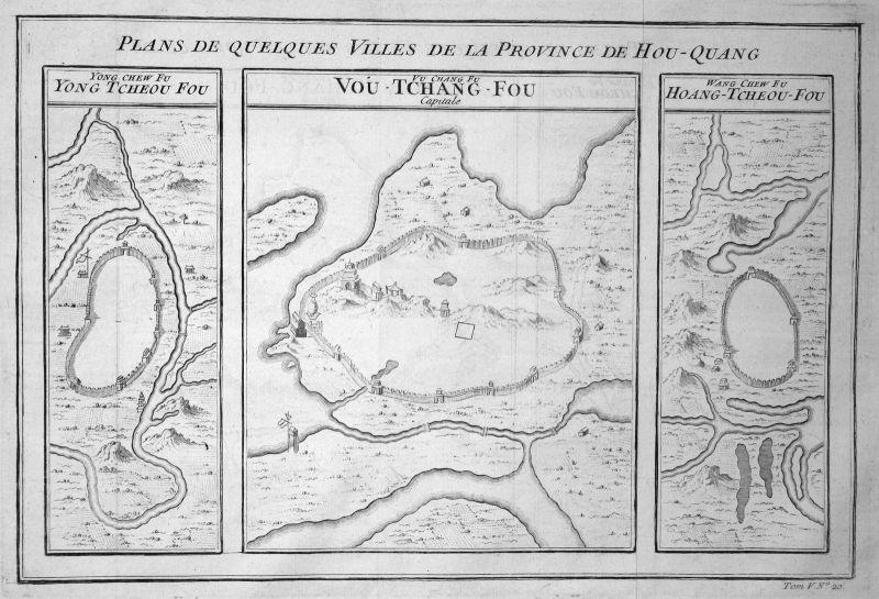 Ca. 1750 Hunan Provinz province China Karte map Plan Kupferstich antique print