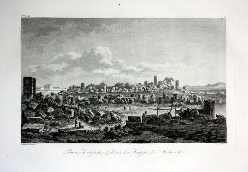 1820 Selinunte rovinas veduta Italia acquaforte Kupferstich engraving Saint Non