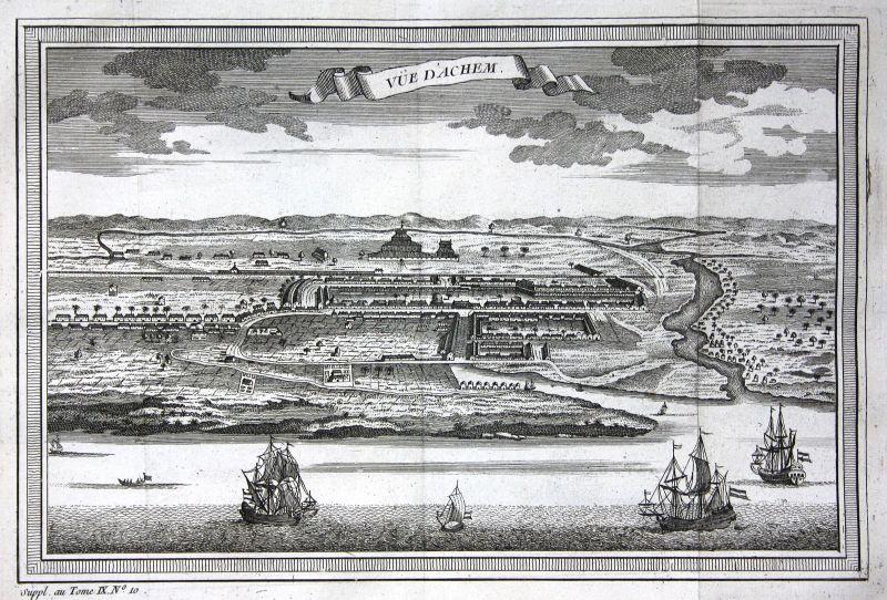 1750 Banda Aceh Indonesia Sumatra Ansicht view Kupferstich antique print
