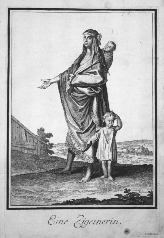 1703 Zigeuner gipsy Trachten costumes Kupferstich antique print Sancta Clara