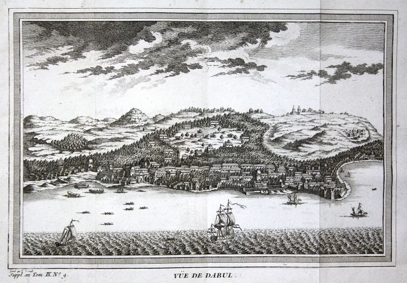 1750 Goa Dabul India Dabhol Indien Ansicht view Kupferstich antique print