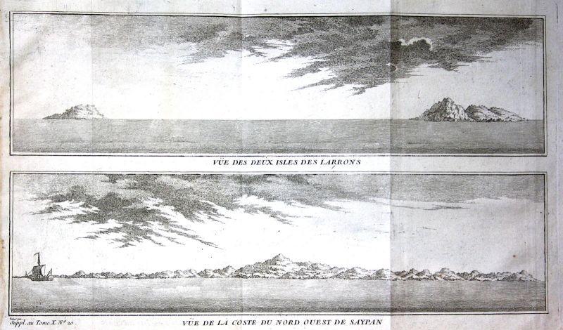 1750 Ladrones Islands Mariana Saipan Pacific Ansicht Kupferstich antique print
