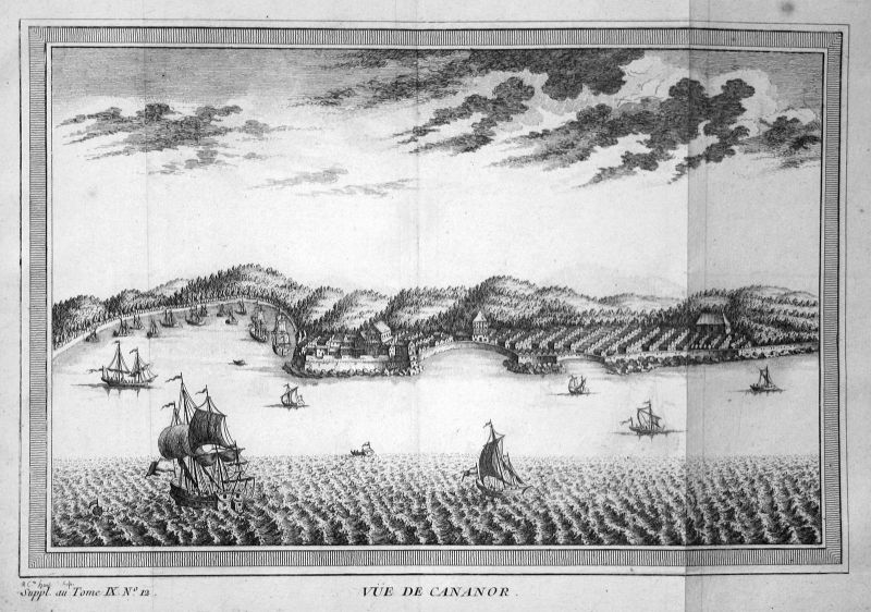Ca. 1750 Kannur India Indien Ansicht view Hafen port Kupferstich antique print