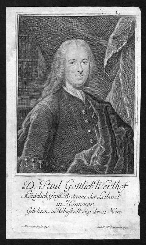 1741 Paul Gottlieb Werlhof Arzt Hannover Portrait Kupferstich antique print