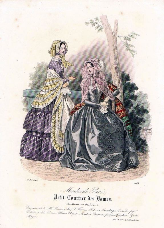 1846 Biedermeier Mode Kupferstich victorian fashion antique print etching  89726