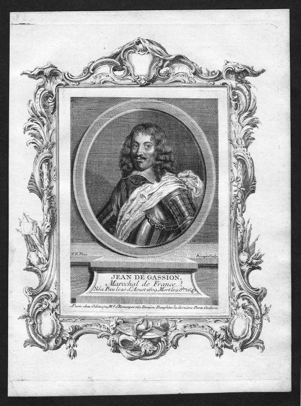 1690 Jean de Gassion marechal France gravure Portrait Kupferstich antique print