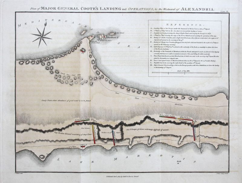 Alexandria Egypt battle Schlacht Plan Karte map antique print Kupferstich 1803