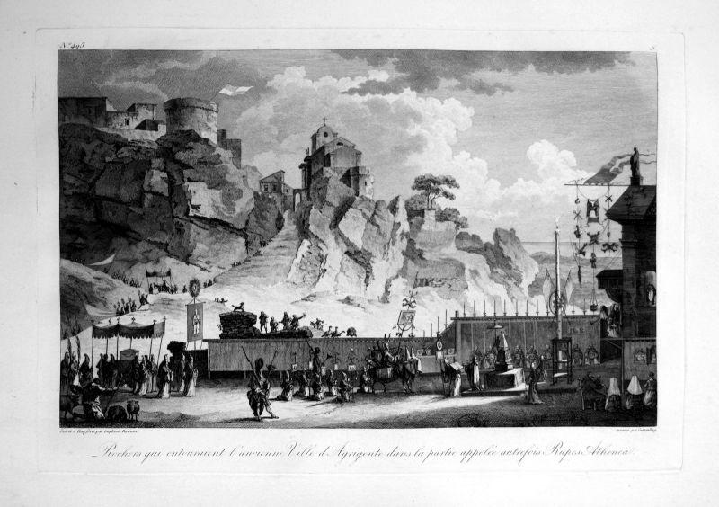 1820 Agrigento Sicilia veduta Italia acquaforte Kupferstich engraving Saint Non