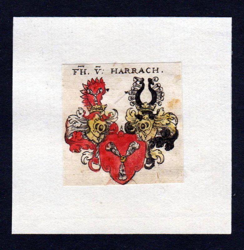 17. Jh von Harrach Wappen Adel coat of arms heraldry Heraldik Kupferstich