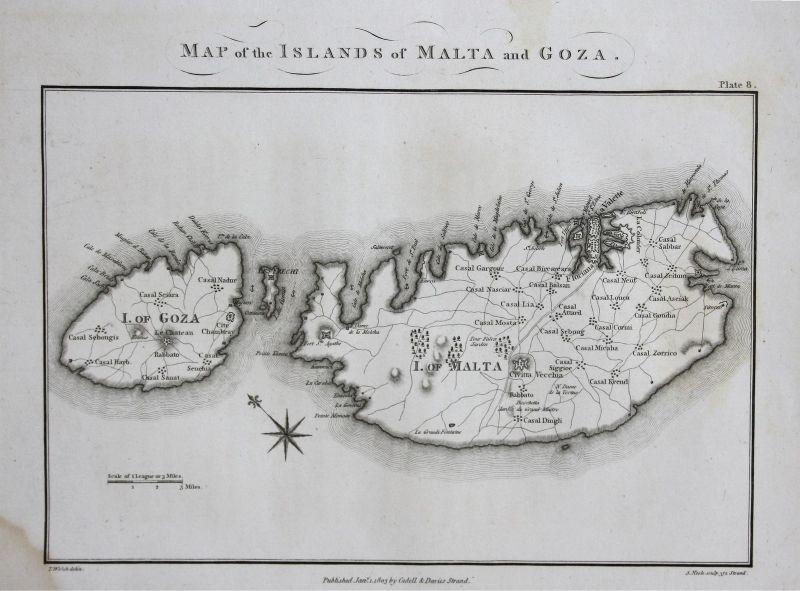 Malta Gozo Inseln islands Mediterranean Sea Karte map Kupferstich 1803