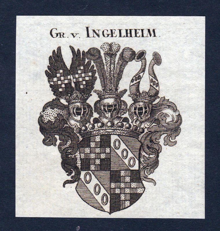 1820 Ingelheim Rheinland Wappen Adel coat of arms Heraldik Kupferstich engraving