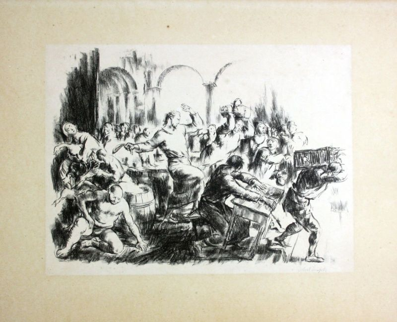 München Original Lithographie signiert Robert Engels