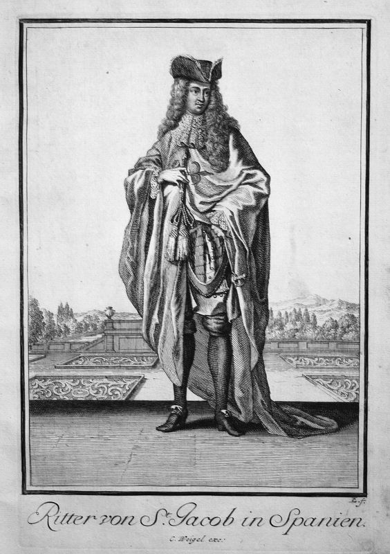 1703 Espana Spain Spanien Santiago Kupferstich antique print Sancta Clara