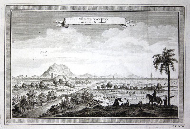 Ca. 1750 Nanjing Jiangsu China Ansicht view Kupferstich antique print