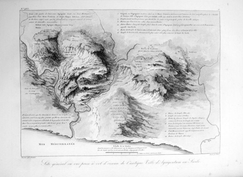 1820 Agrigento Sicilia Italia veduta acquaforte Kupferstich engraving Saint Non