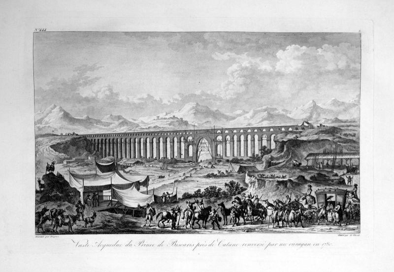 1820 Acquedotto Catania veduta Italia acquaforte Kupferstich engraving Saint Non