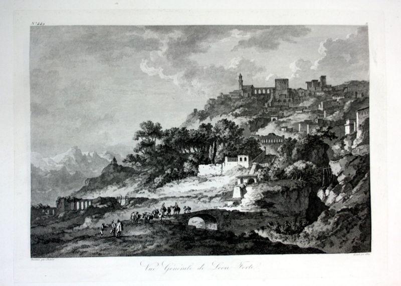 Ca. 1820 Leonforte Enna Sicilia veduta Italia acquaforte engraving Saint Non