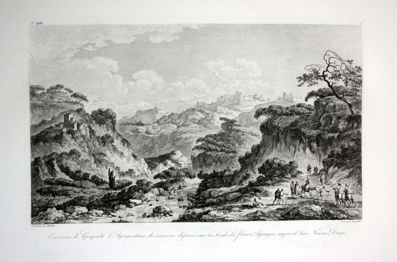 1820 Agrigento Girgenti veduta Italia acquaforte Kupferstich engraving Saint Non