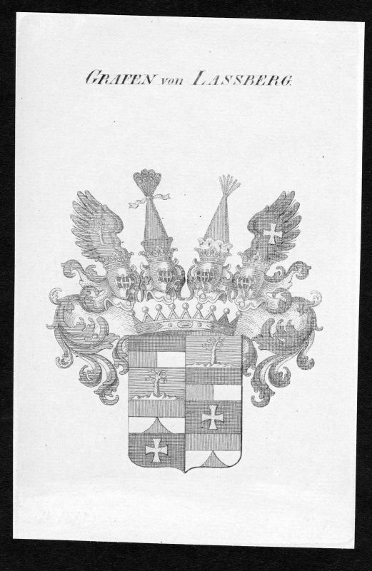 Ca. 1820 Lassberg Laßberg Wappen Adel coat of arms Kupferstich antique print
