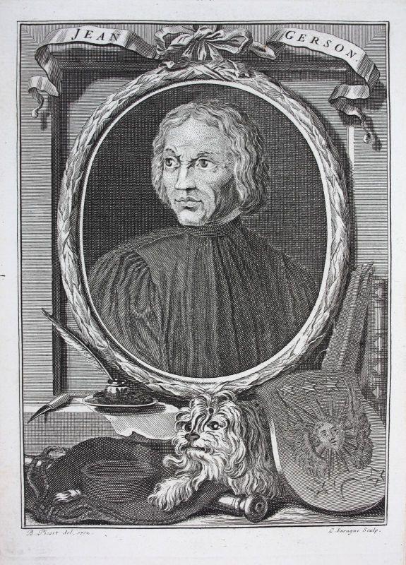 18. Jh. Jean le Charlier de Gerson Theologe theologien Frankreich Kupferstich