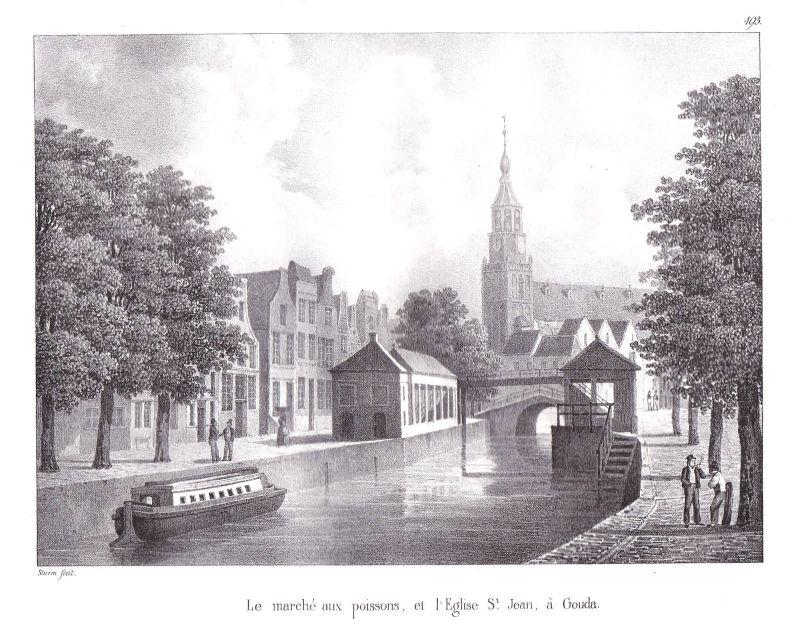 1825 Gouda St. Johannes Kathedrale Lithographie Cloet Niederlande Pays-Bas