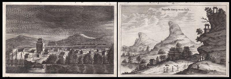 1668 China Asia Ansicht view Asien Pagode Kupferstich antique print Nieuhof