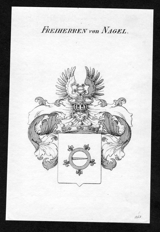 Ca. 1820 Nagel Wappen Adel coat of arms Kupferstich antique print heraldry
