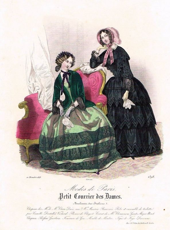1848 Biedermeier Mode Kupferstich victorian fashion antique print etching  89746