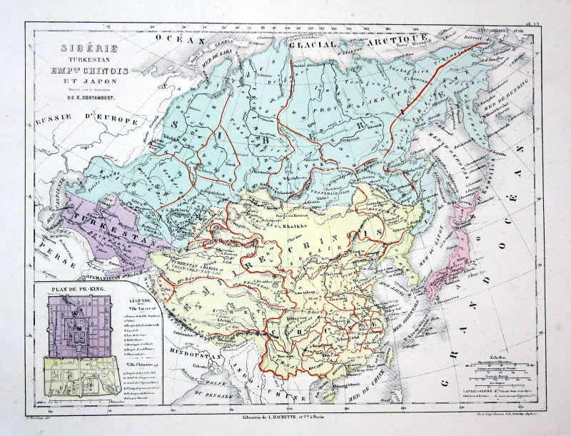 Japan China Turkestan Siberia Weltkarte Karte world map Lithographie  lithograph