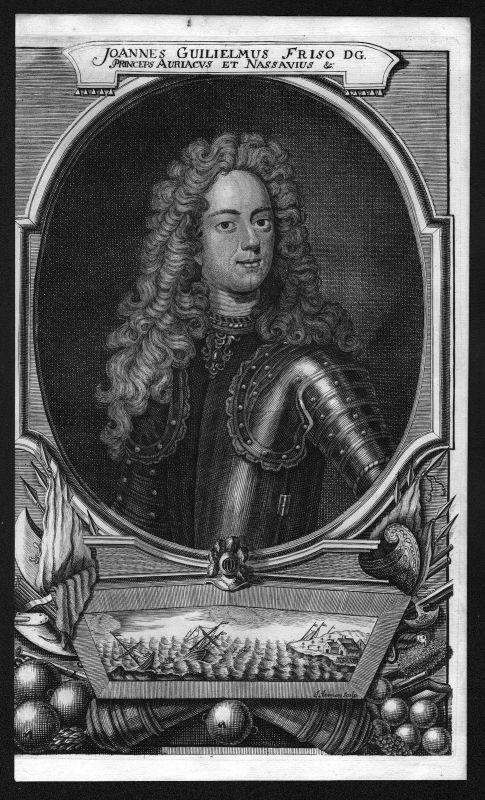Um 1700 Johan Willem Friso van Nassau-Dietz Portrait Kupferstich antique print