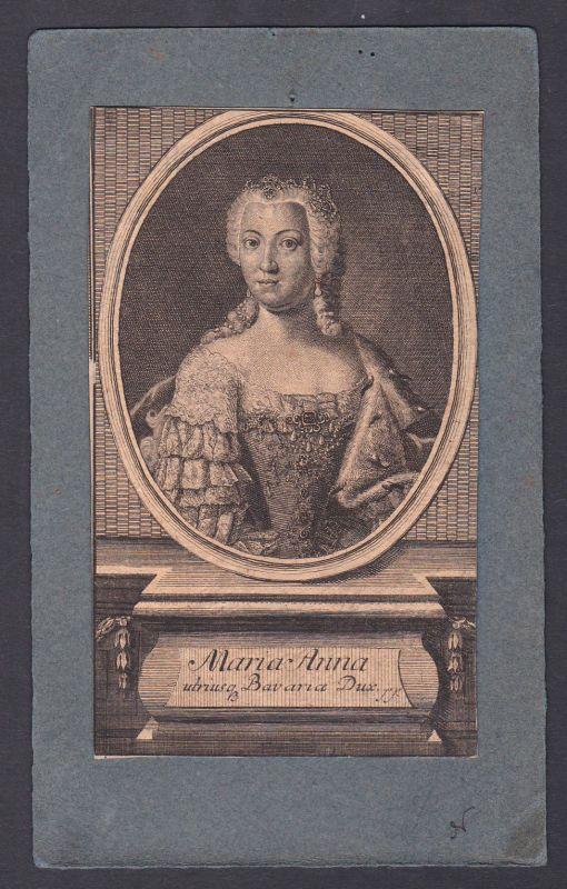 18. Jh. Maria Anna von Bayern Portrait Kupferstich antique print