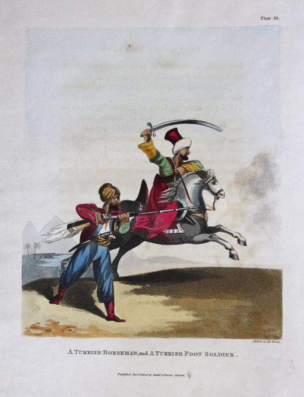 Horseman Reiter Foot Soldier Infanterist Turkey Türkei Tracht Kupferstich 1803