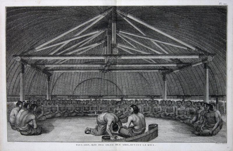 1785 Tonga Australia king König Pacific Ocean Kupferstich antique print Cook