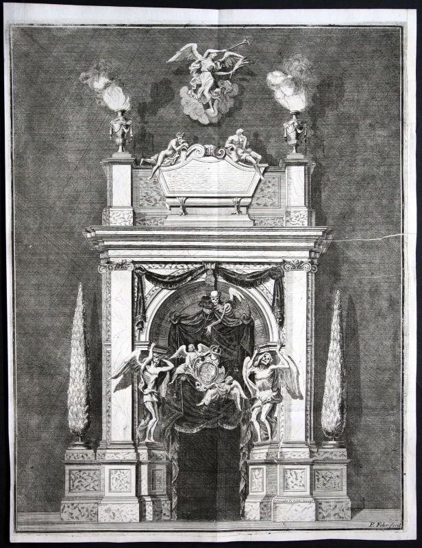 1718 Begräbnis Portal Sophie Charlotte von Hannover Königin Preussen Kupferstich