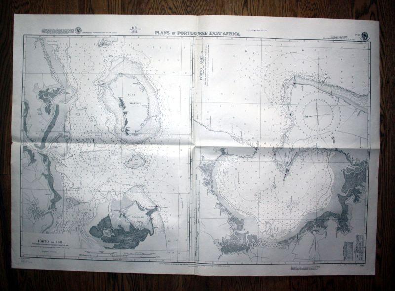 1940 Plans Portuguese East Africa Afrika map chart sea Karte admirality nautical