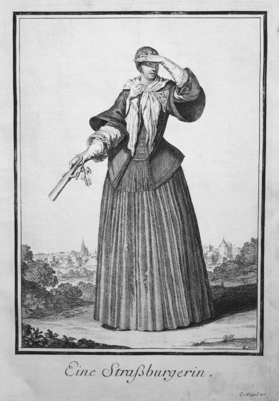 1703 Strasbourg Trachten costumes gravure Kupferstich antique print Sancta Clara
