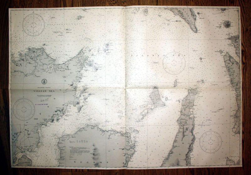 1940 Philippine Islands Visayan Sea Philippinen Panay map Karte Plan chart plan