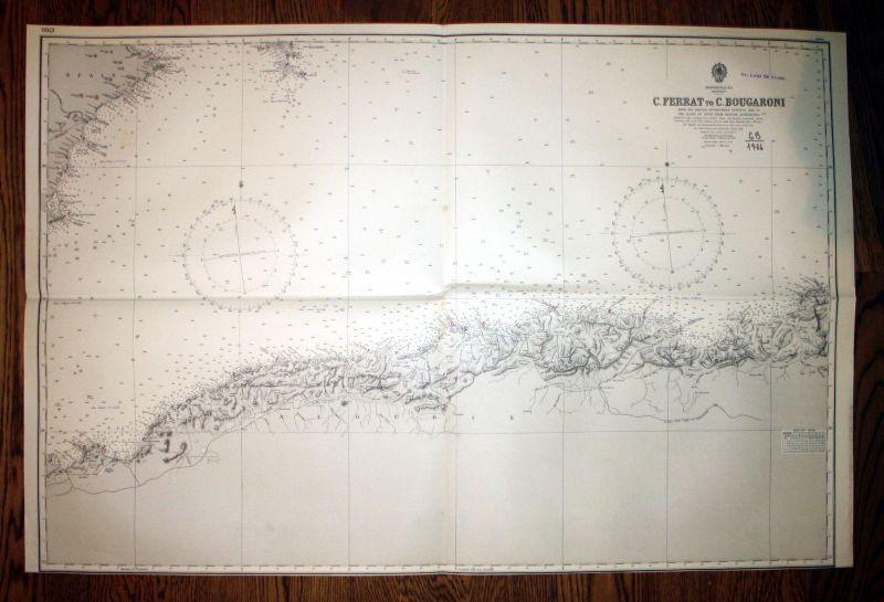 1940 Mediterranean Sea Algerie Ferrat to Bougaroni Algerien Algeria Karte map