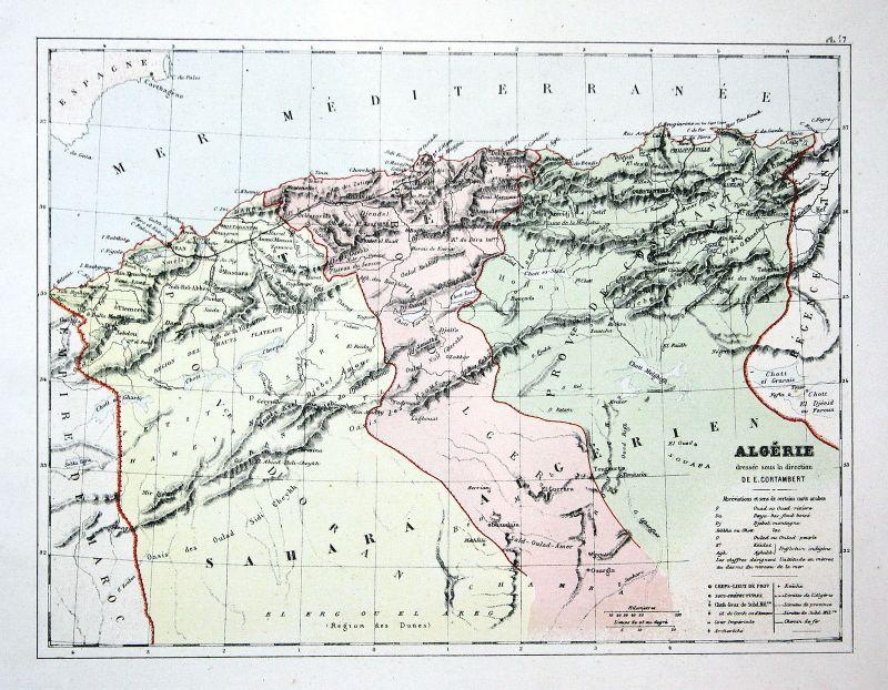 Algeria Algerien Afrika Africa Weltkarte Karte world map Lithographie lithograph