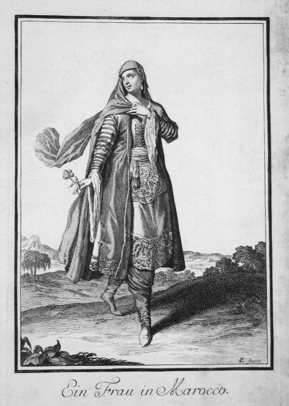 1703 Marokko Morocco Trachten costumes Kupferstich antique print Sancta Clara