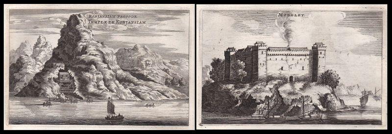 1668 China Asia Ansicht view castle Burg Kupferstich antique print Nieuhof Asien