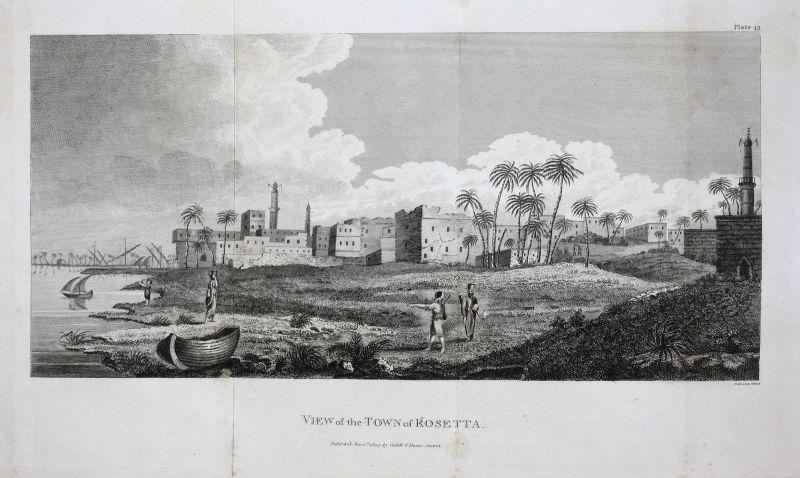 Rosette Rosetta Egypt Ägypten view Ansicht Kupferstich antique print 1803