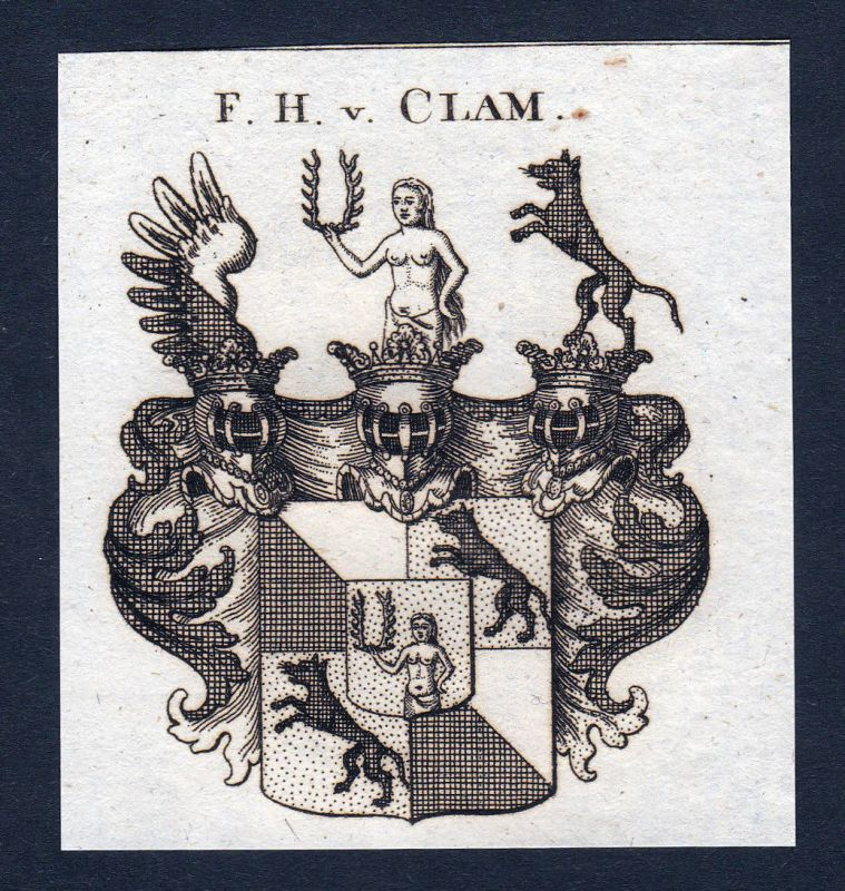 1820 Clam Österreich Wappen Adel coat of arms Heraldik Kupferstich engraving