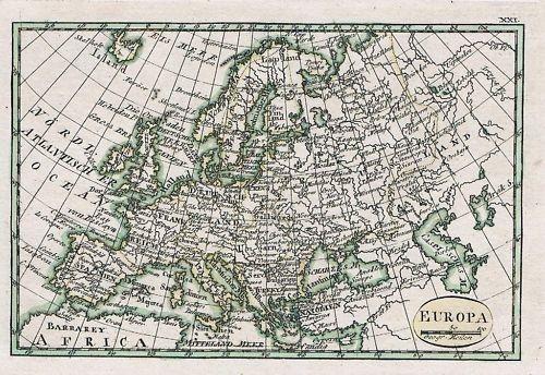 1807 Europa Europe Map Karte Schindelmayer carte Kupferstich engraving continent